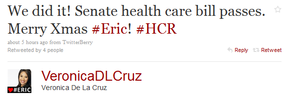Veronica De La Cruz tweet after Bill passage