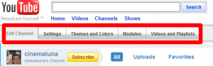 Edit Channel buttons on YouTube