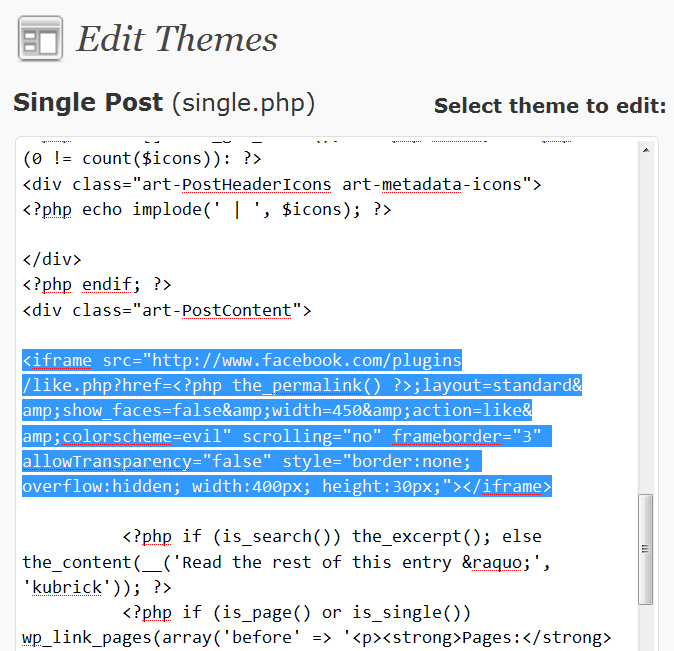 Facebook Like Button Code in Wordpress Single Post Theme
