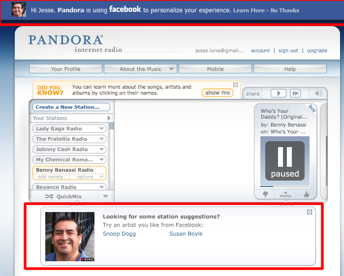 Facebook Personalization on Pandora