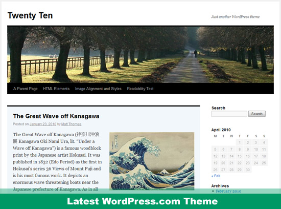 WordPress.com - Twenty Ten Theme