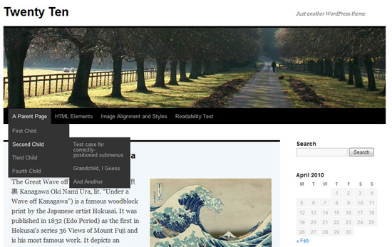 WordPress.com's Twenty Ten Theme