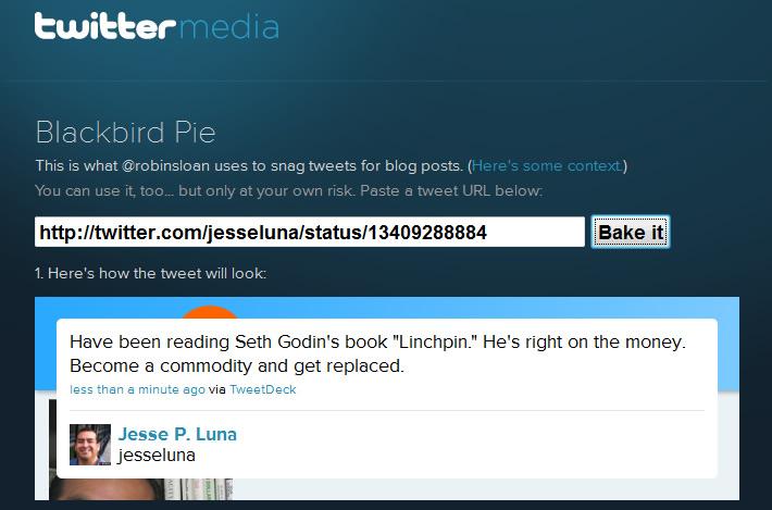 BlackBird Pie Tweet