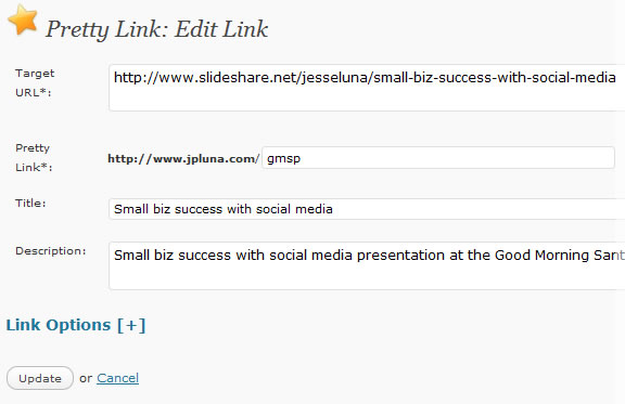 Pretty Links plugin in WordPress