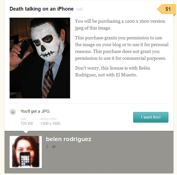 Photo of death talking on an iPhone, for sale on Gumroad.com