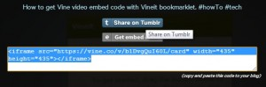 Share Vine videos on Tumblr using Vineit