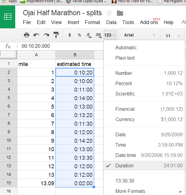 formatting time splits as duration
