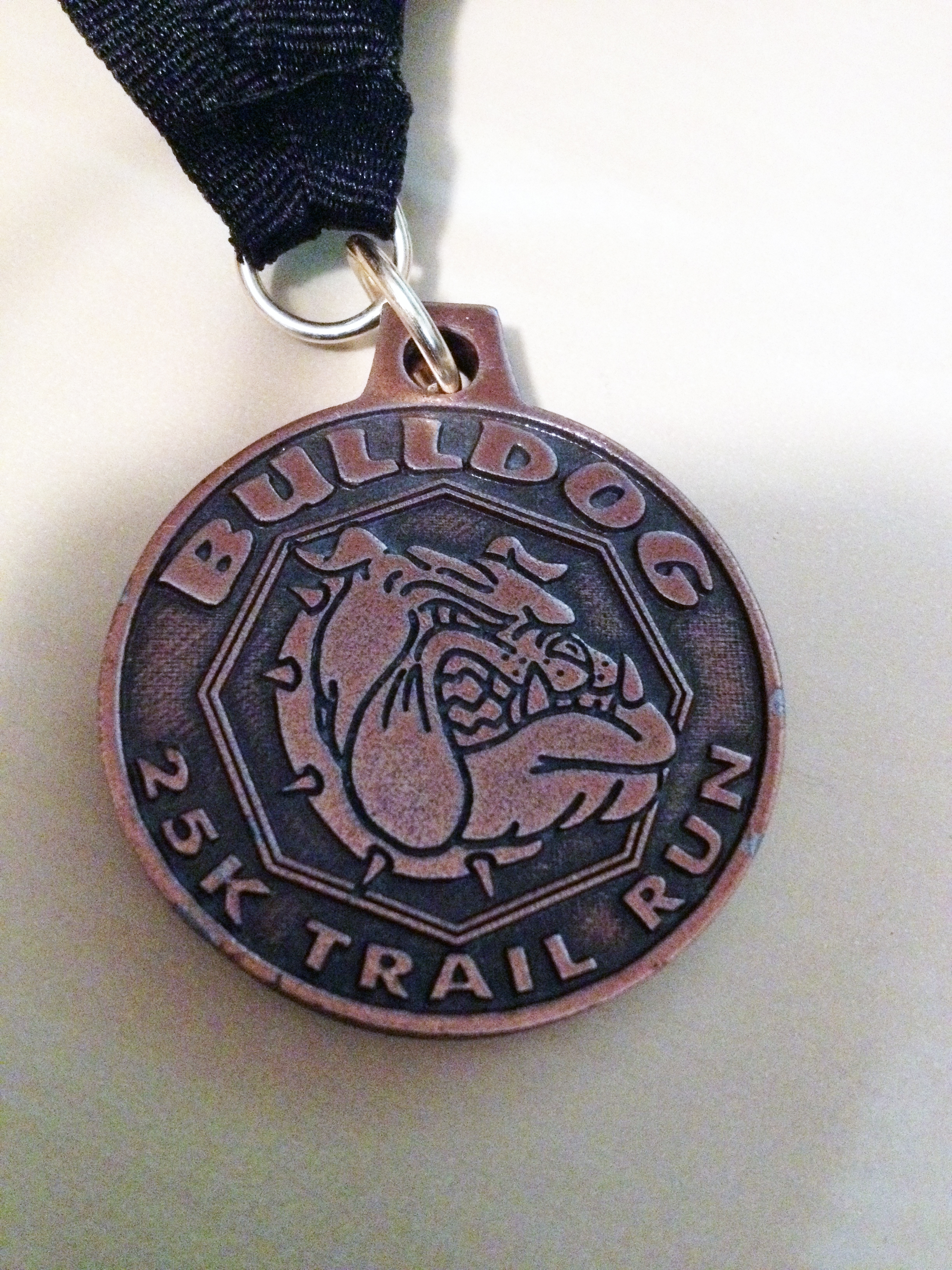 Bulldog25K finishers medal 2014