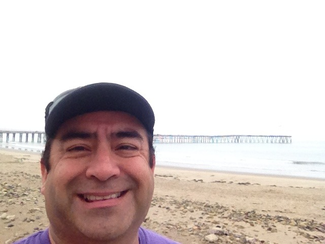 Pre-race game face. The race is run along the beach in Ventura