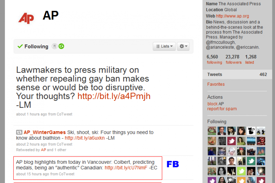 AP sends Twitter feed to Facebook